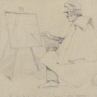 자신의 화가 (畵架) 앞에 앉아 있는 화가 스타마티 불가리의 초상
