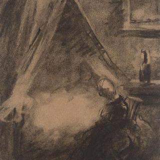아이의 침대 머리맡에서 앉아 있는 왼쪽 프로필의 여자