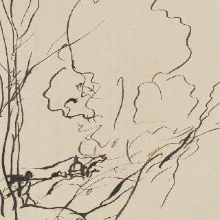 나무 곁에 사람이 있는 숲이 우거진 풍경