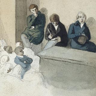 판지 앨범 ; 앉아서 수업을 듣고 있는 학생들 ; 1818 - 1823