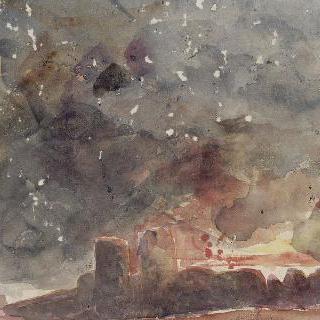 화염이 둘러싼 망루와 성 담 ; 불길에 덮여 있는 지옥의 디테 시
