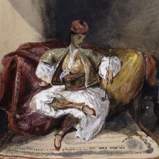 수연통 담뱃대를 들고 긴 의자에 앉아 있는 동양인