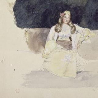 앉아 있는 유대인 젊은 여자