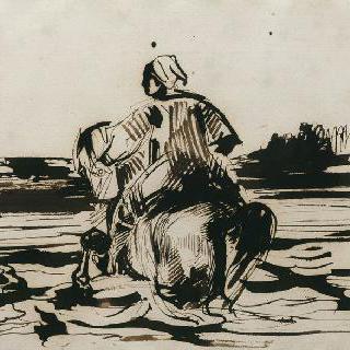 얕은 강물을 건너는 아랍 기병