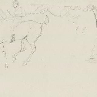 말 탄 사람, 오른쪽으로 달리는 개, 숫자들