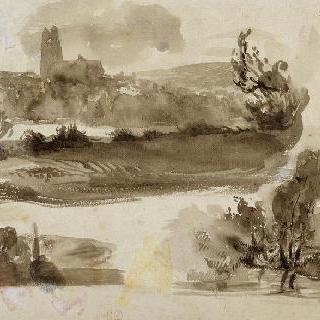 풍경에 대한 세 습작, 그 중 한 풍경에는 투르 성당이 있다 ; 1828 10월