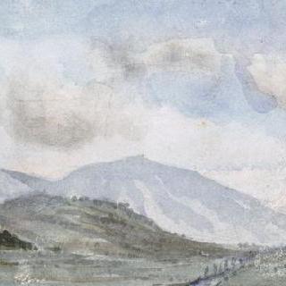 멀리 산들이 보이는 평야의 파노라마 전경 ; 브리브와 수이악 사이, 1855년 경
