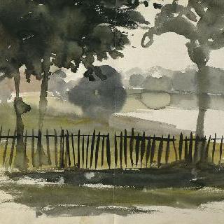 세그루의 나무와 울타리가 있는 영국 시골 풍경