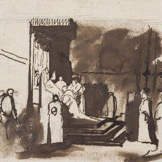 사제들을 접견하는 주교