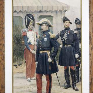 자신의 막료 장교 중 한명을 동반하고 있는 샬롱 야전 부대에서의 나폴레옹 3세