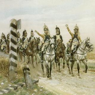 18세기 말 국경의 푯말 앞의 용기병들