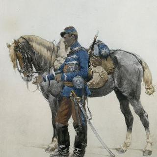 제 2 제정시대의 전투복 차림의 기병 2대대의 기병
