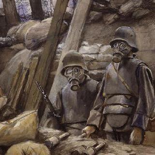 방독면과 흉갑 무장을 한 독일 병사들. 1917년 8월 이미지