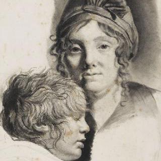 자신의 아내와 아들 초상