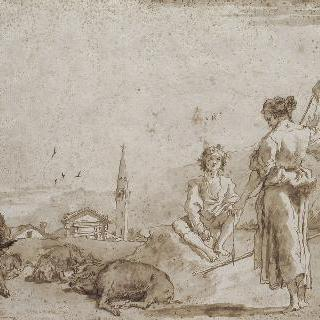 젊은 돼지치는 사람과 두 아낙네들