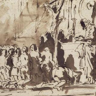 예수의 수난상 앞에 무릎꿇은 신자들의 군상