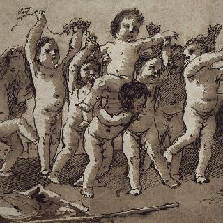 춤추는 벌거벗은 아이들 군상