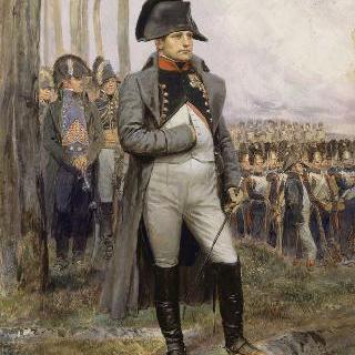 황실 수비대 유탄병의 행렬을 보고 있는 나폴레옹 1세와 막료