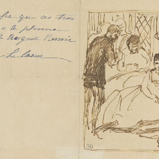 세 명의 인물들에게 둘러싸인 실내의 앉아있는 여인