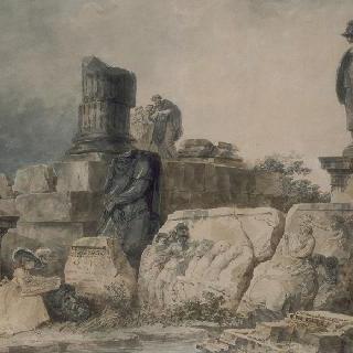 고대 유적 폐허지에서 그림 그리는 두 젊은 여인