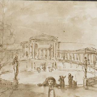 광장 중앙의 난간을 둘러싸고 있는 중앙의 커다란 연못
