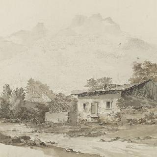 강가의 초가집들
