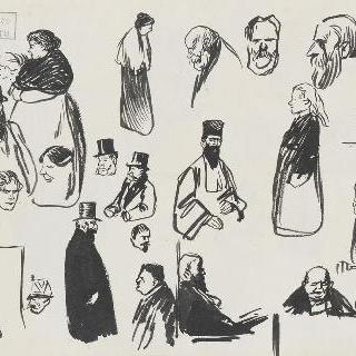 다양한 인물들 크로키 : 판사, 남자들과 여자들
