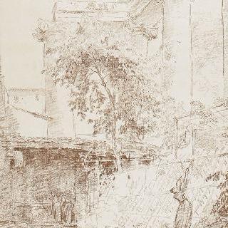 고대의 기둥 그늘 아래 안뜰에서 빨래를 널고 있는 여인