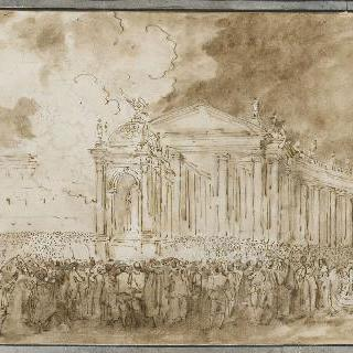 로마의 생피에르 광장에서의 성체 축일 기념일을 위한 조명 장식