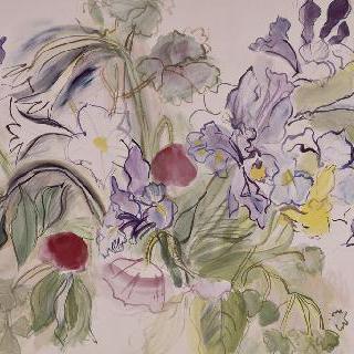 붓꽃 다발과 개양귀비