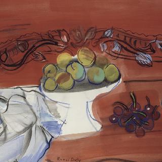 과일을 담은 큰 잔. 옛날 제목 : 붉은 까치발 테이블