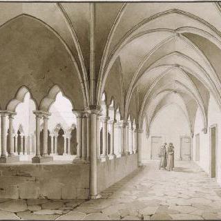 뇌프샤텔 부근의 랑스 수도원의 열주회랑