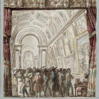 1819년 전시 기간의 루브르 대회랑의 전경