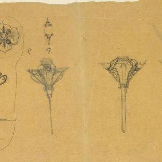 매다는 촛대 크로키와 꽃 크로키