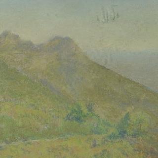 후경에 골짜기와 강이 있는 산 풍경