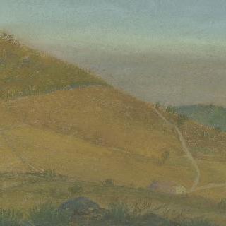 전면에 집이 있는 언덕 풍경
