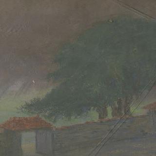 전면에 폐쇄된 담이 있는 집 풍경