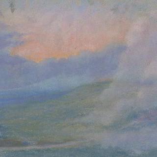 구름이 물든 석양의 산 풍경