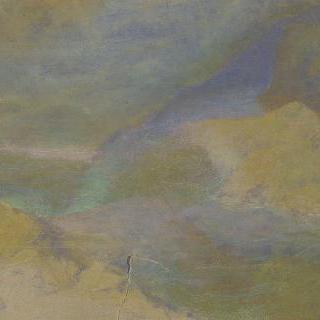 전경에 바위들이 있는 산 풍경