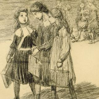 학교의 출구 : 대화를 나누는 세 명의 어린 소녀들과 안쪽의 다른 소녀들