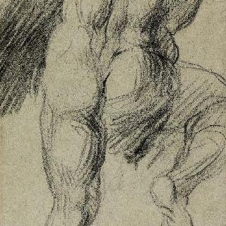 미켈란젤로의 최후의 심판풍의 벌거벗은 남자의 뒷모습 습작