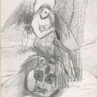 나무 밑둥에 앉아있는 날개달린 남자와 잘린 머리
