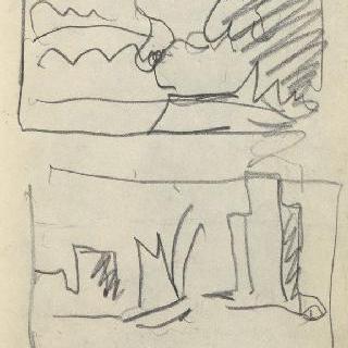 화첩 : 틀 속의 풍경 초벌화 2점