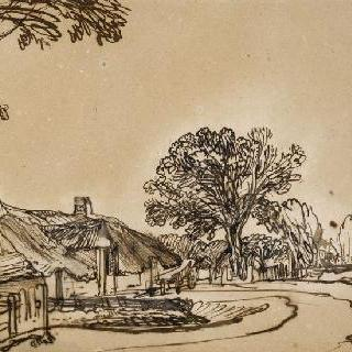 길가의 초가집과 나무