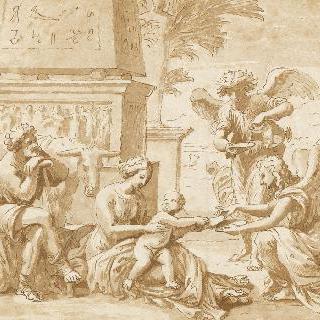 천사들의 보호를 받는 이집트의 성 가족