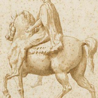 마크 오렐의 측면 기마 동상의 뒷모습