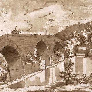 폭포의 강가 아래의 두 명의 기병이 있는 다리