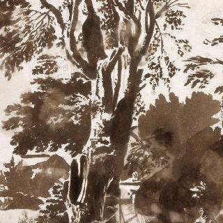 커다란 나무 우측에 앉아있는 사제
