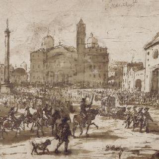 산타 마리아 마지오레 후면의 로마에서의 말들의 축성