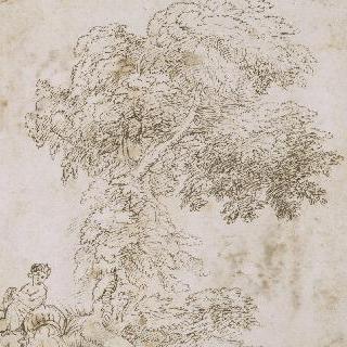 누워있는 강의 신의 동상과 나무들 습작